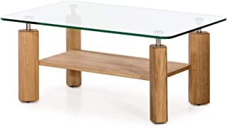 Marca Amazon -Alkove - Hayes - Mesa de centro moderna de madera maciza con superficie de cristal (roble salvaje)