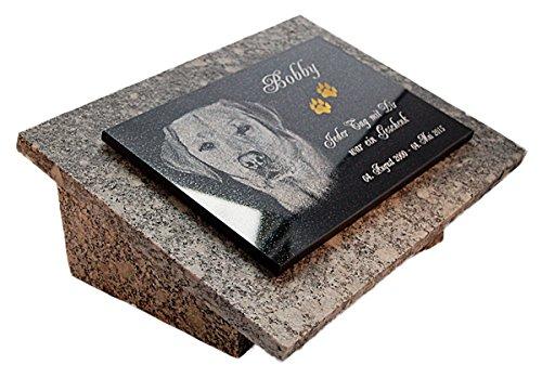 LaserArt24 Granit Grabstein, Grabplatte oder Grabschmuck mit dem Motiv Hund-gg16s und Ihrem Foto/Text und Daten