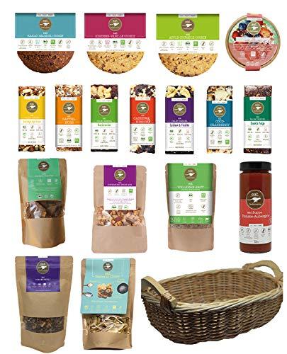eat Performance® XL Geschenkkorb (17 Artikel + Korb) - Bio, Paleo, Ohne Zuckerzusatz, Glutenfrei, Laktosefrei, Aus 100% Natürlichen Bio Zutaten
