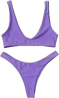 ZAFUL Bikini Swimsuit, Braided Cami Thong/Strappy Front Knot/Floral Print/High Cut Bikini Set