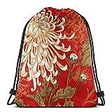 Lmtt Mochila con cordón, flor roja, crisantemo, deportes, gimnasio, mochila, bolsa de viaje