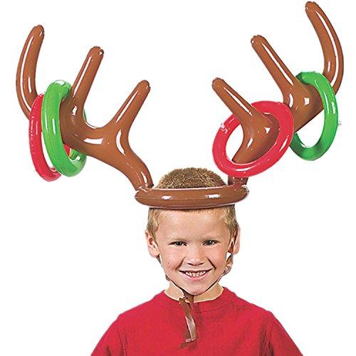 JYSPORT Gorro de reno hinchable de Navidad, juego de fiesta con anillos, juegos divertidos para la familia