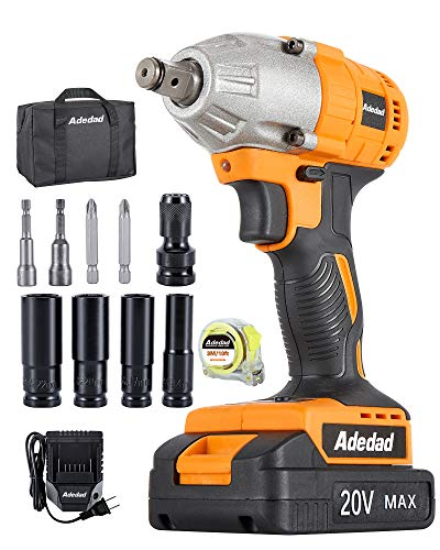 Cordless Impact Wrench 1/2 Inch - Adedad 20V Impact Gun with 240 ft-lbs High Torque, 4pcs Driver Impact Sockets