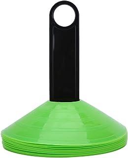 Tbest markeringskegel 10 stycken Pro Disc Cones med stativ mini tegelskivor fältmarkör fotboll fotboll sport hastighet trä...