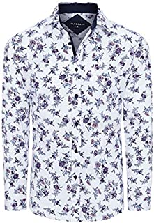 Tarocash Men's Rick Stretch Floral Shirt Regular Fit Long Sleeve Sizes XS-5XL for Going Out Smart Occasionwear