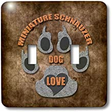 3dRose LSP_22088_2 Miniature Schnauzer Dog Love Dog Breed in Gray and Brown Double Toggle Switch