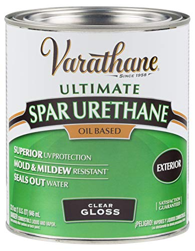 Rust-Oleum Varathane 242180H 1-Quart Classic Clear Oil Based Outdoor Spar 275 Voc Urethane, Gloss Finish