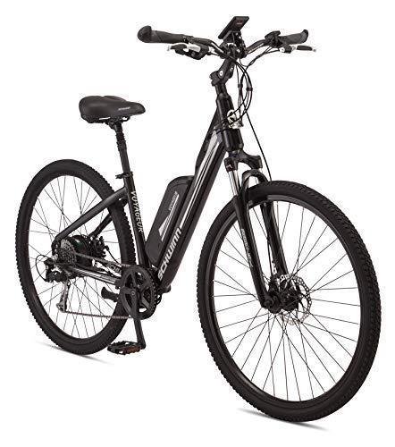 Schwinn Voyageur Electric Bike, Medium/41cm Aluminum Step-Through Frame, 8-Speed Drivetrain, 250-Watt Hub Drive Motor with Handlebar LCD Display, Mechanical Disc Brakes, and 700c Wheels, Black