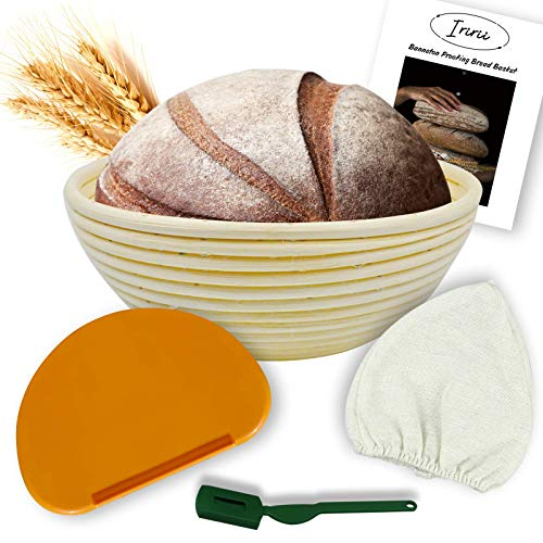 9 Inch Bread Banneton Proofing Basket -Include Cloth Liner Flexible Bowl Scraper Profile Bread Lame for Artisan Bread