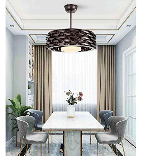 Kaper Go - Lámpara de techo con ventilador de techo, diseño nórdico, sencillo y elegante, para sala de estar, dormitorio, lámpara LED de 55 x 55 x 45 cm