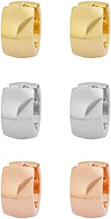 IceWave Stainless Steel Small Hoop Huggie Earrings Gold-Tone Triple Set Men's Women's Three Pairs