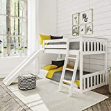 Max & Lily Solid Wood Twin Low Bunk Bed with Slide, White