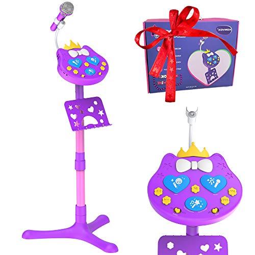 VOZKOM Kitty Star Karaoke Microfono niña niños, Máquina de Karaoke Pie de Micrófono Juguetes para Niñas, Regalos de Cumpleaños para Niñas niños 3 4 5 6 Años