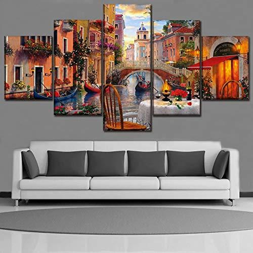 WMWSH Impresión Hd Pintura 5 Piezas Paisaje De La Ciudad De Agua De Venecia, Italia Cuadro En Lienzo, Cuadros Modernos Salón Decoracion De Pared Canvas Prints, Wall Art Modular Poster Mural Decorativo