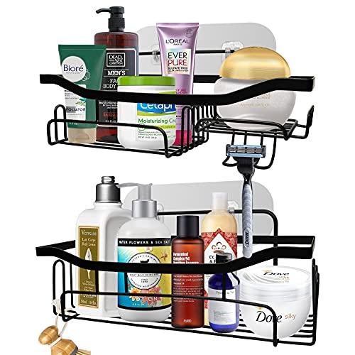 Shower Caddy Bathroom Shelf, Wall Decor for Bathroom Floating Shelves Rack, Icymate 2 Pack No Drilling Traceless Adhesive Kitchen Storage Organizer, SUS304 Rustproof Bathroom Accessories, Black