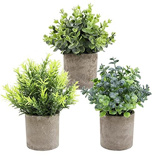 THE BLOOM TIMES Juego de 3 Plantas Artificiales en macetas pequeñas, Plantas Artificiales de...