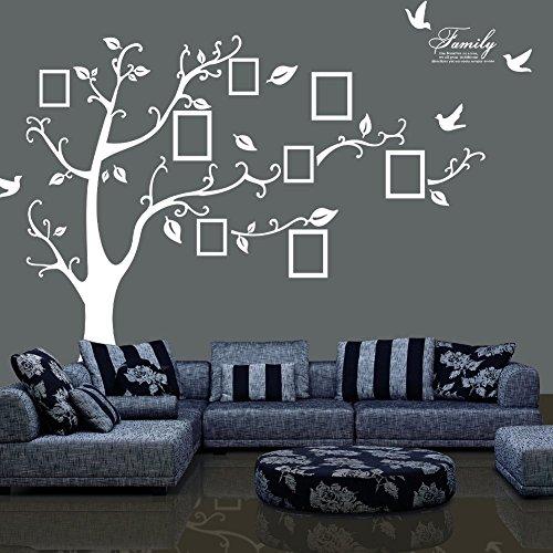 Jessie&Letty, adesivo da parete in PVC, albero della memoria con cornice portafoto. Ricordi preziosi (rivolto verso destra) White