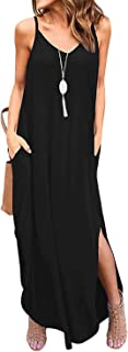 Zilcremo Women Summer Casual Dress Floral Loose Boho Dresses Cami Maxi Dresses with Pockets
