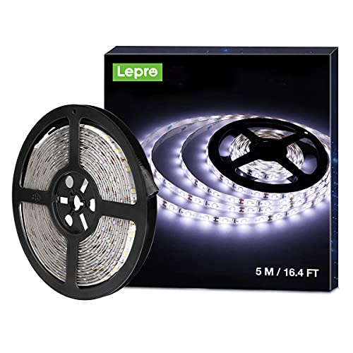 LE Tiras LED 5 Metros, Luces LED Habitacion Blanco Frío 6000K 1200 lm, 300 LED SMD 2835, , Tira LED 12v Impermeable IP65, Luz LED para Techo, Muebles, Cocina etc. no incluido fuente alimentación