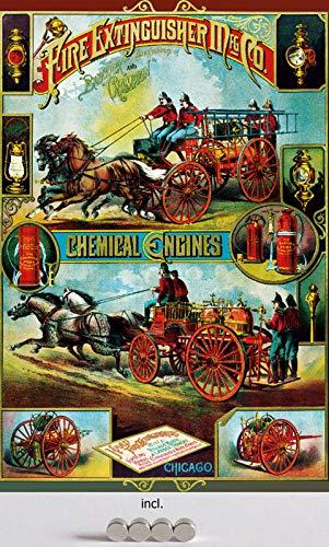Metalen bord 20 x 30 cm gebogen, incl. 4 magneten vuur Extinguisher Meg co Chicago brandblusser brandweerdecoratie geschenk bord