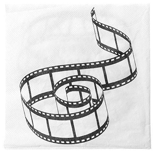 Santex Filmband-Servietten Hollywoodparty-Deko 20 Stück Weiss-schwarz 33x3ccm Einheitsgröße