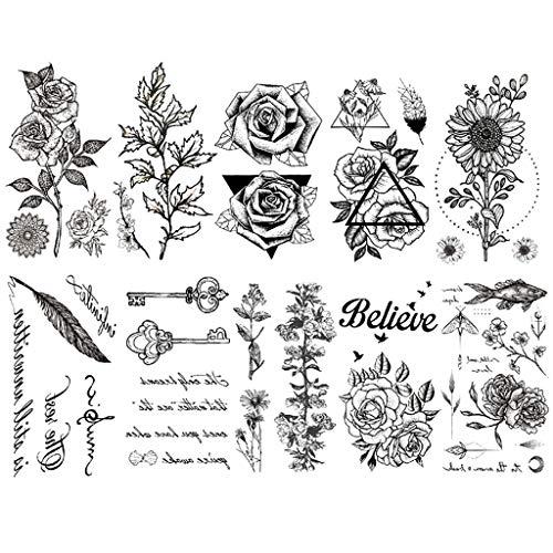 CARGEN タトゥーシール 刺青シール 花 アルファベット フェザー キー 葉 腕·足·背中·胸で簡単に貼り付ける入れ墨 黒 アートステッカー 10枚セット(60*105mm)