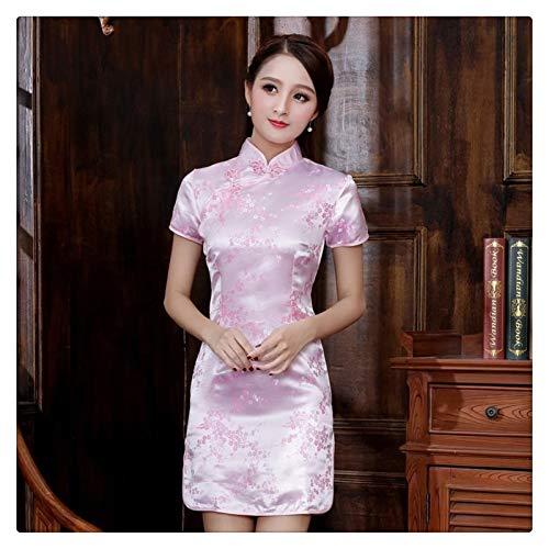 HLMJ Chinese Qipao Klassische Frauen-Satin Cheongsam Oriental Braut Brautkleider Abendkleid-Partei (Color : Pink B, Size : 5XL.)