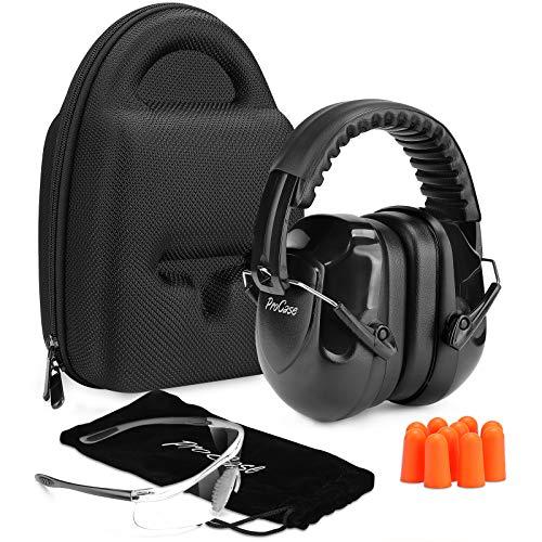 Procase Casco Insonorizado Protector de Oído + Gafas Protección + Tapones para Los Oídos + Estuche Rígido de EVA, Accesorios para Protección de Tiro Campo de Disparo y Temporada de Caza -Negro
