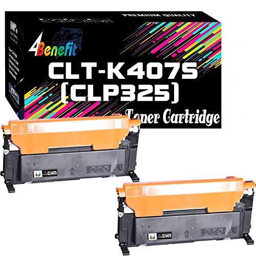 2-Pack 4Benefit Compatible CLT-K407S CLT-407S Black Toner Cartridge CLTK407S Used for CLX-3185FW 3185N CLP-320N CLP-321N CLP-325W CLP-325 Printer