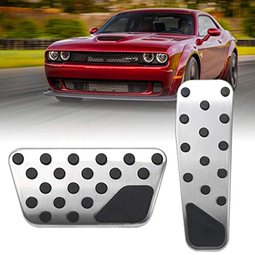 BORDAN Dodge Challenger Chrysler Accelerator Gas Pedal Brake Pedal Cover Aluminum Performance Foot Pedals Set Non-Slip Replacement Pedal Pad Fit for Dodge Challenger Chrysler 300 2009-2019