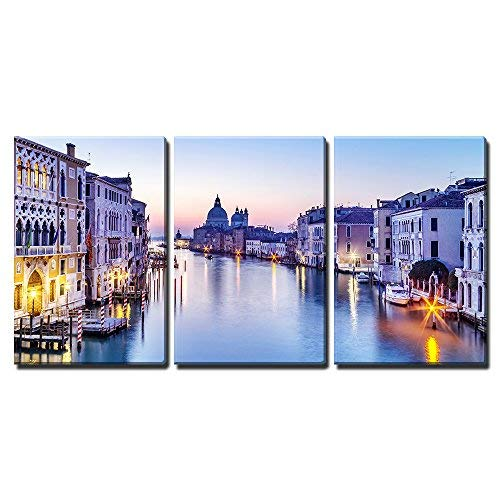 "wall26 - 3 Piece Canvas Wall Art - Dusk in Venice, Italy - Modern Home Art Stretched and Framed Ready to Hang - 16""x24""x3 Panels"