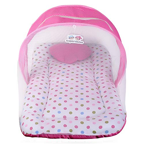 Superminis Multicolor Dot On White Base Design Bedding Set Thick Base, Foldable Mattress, Heart Shape Pillow and Zip Closure Mosquito Net (6-12 Months, Pink, 78X46X5cm)