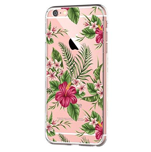 Caler - Cover di ricambio per iPhone 6S/6, trasparente, in silicone morbido, antiurto, in TPU di protezione, motivo: fiori di cactus