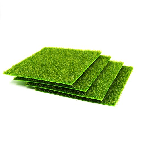Miniature Grass, 4 Pcs Life-Like Fairy Lawn Artificial Grass 6