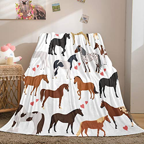 Horse Blanket Cute Animal Throw Blanket Colorful Horses and Pink Love Boys Girls Flannel Blanket Soft Lightweight Plush Blanket for Bed Sofa Floor Cowboys Blanket (Horse, Throw(50'x60'))