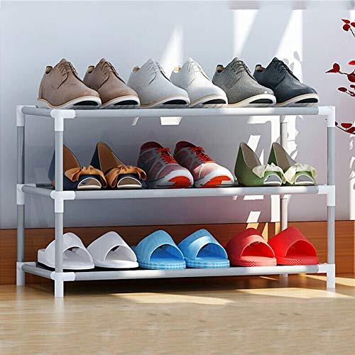 FEIFEI Zapatero, Compuesto Por Estructura Metálica, Conectores De Tela y Plástico, Tamaño 60x30x36 Cm (3 Capas), Con Capacidad Para 9 Pares De Zapatos, Gris