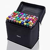 60 Farben Permanent marker Stifte Set Erwachsene und Kinder Zeichnen Set zum Zeichnen Graffiti Stiftbreite und dünne Doppelspitze Spitze (schwarze Reißverschlusstasche)