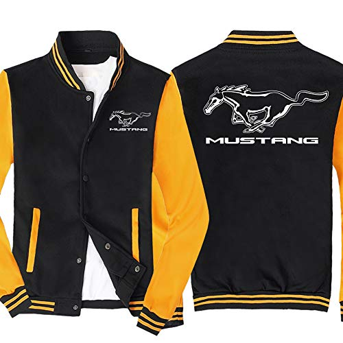 Męska bluza rozpinana w piersi kurtka z klapami zimowa ciepła odzież wierzchnia płaszcze Casual bluza w dużych rozmiarach Mustang strój baseballowy,Czarno żółty,XXL