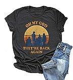 Backstreet Boys Shirt Women Pop Music T-Shirt Oh My God They' re Back Again Graphic Short Sleeve Vintage Tee (Black, L)