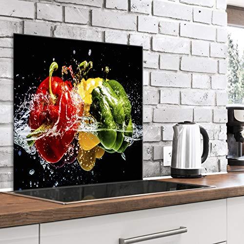 murando Spritzschutz Glas für Küche 60x60 cm Küchenrückwand Küchenspritzschutz Fliesenschutz Glasbild Dekoglas Küchenspiegel Glasrückwand Gemüse Paprika Wasser - j-B-0059-aq-a