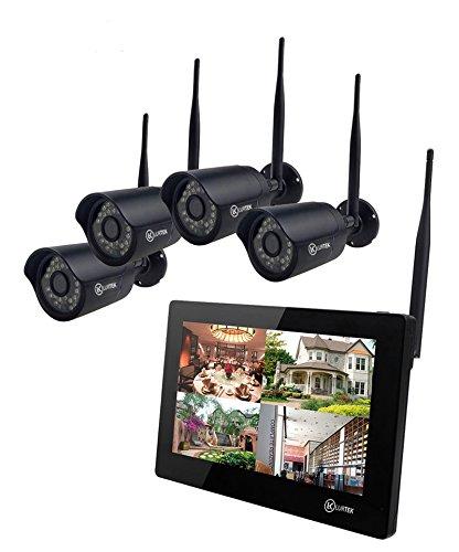 Set für Videoüberwachung, drahtlos, mit LCD-Touchscreen 22,8 cm (9 Zoll), Anzeige in Echtzeit, 4HD-Kameras, Nachtsicht, H.264, Festplatte 1.000 TB