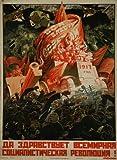 Póster vintage de la propaganda rusa 'Larga Viva la Revolución Socialista Internacional', 1917, reproducción de 200 g/m², A3 vintage de propaganda comunista rusa
