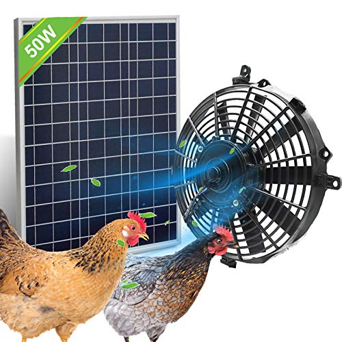 Pumplus Chicken Coop Cooler Fan, 50W Solar Powered Vent Fan System for Chicken Coops/Dog House/Shed (DELIVERY in 2 Packages)