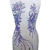 Rhinestone apliques cuentas escote conjuntos floral viñas corpiño adornado accesorios de fiesta para carnaval trajes vestido de fiesta (Lilac)