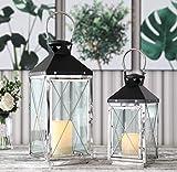 JHY Design - Juego de 2 farolillos colgantes de estilo vintage, 48,5 cm y 35,5 cm de alto, decorativos, de acero inoxidable y metal para velas, para interiores, exteriores, jardín, fiestas, bodas