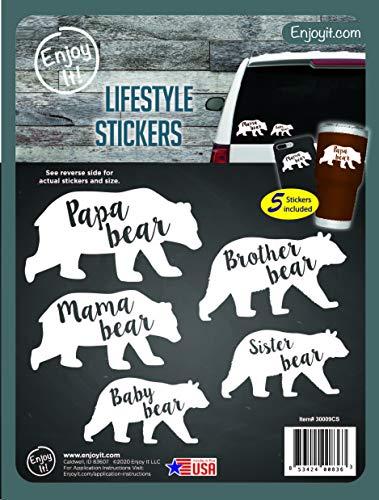 Enjoy It Mama Bear, Papa Bear, Brother Bear, Sister Bear, Baby Bear Car Stickers, 5 Pieces