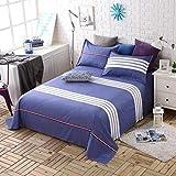 Sccarlettly Worth Having Blue White Striped Casual Chic Bettwäsche Einzelstück Cotton Twill Student Dormitory 1.5M Einzelbettdecken Kinder 1.8M 2.0M Doppelbett Bettwäsche (Größe 200 * 230Cm)