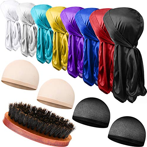 8 Pieces Silky Durag Caps Long Tail Headwraps Silk Wave Caps and 4...