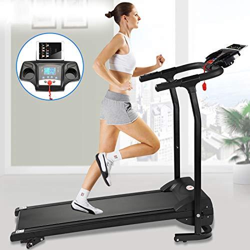 Fitnessclub Folding Electric Motorised 1100 W Treadmill Walking Running Machine Adjustable Incline Fitness Exercise Cardio Jogging W/Hand Grip Pulse Sensor Tablet Bottles Holder