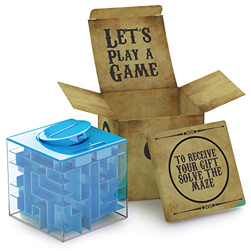 Challenging Money Maze Puzzle Box Blue | Unique Money Storage - with a Well Crafted Package | A Box Full of Surprises - More Fun Than just Hiding Money in an Envelope as a Present | by aGreatlife
